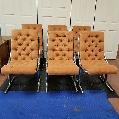 Vintage Daystrom Mid Century Modern Chrome Tufted Orange Velour Dining Chairs