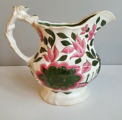 Antique Large Hand Painted Gaudy Welsh Pattern Jug / Pitcher