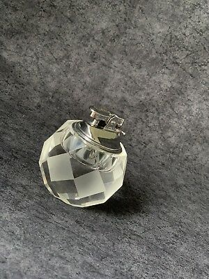 Vintage Crystal Clear Cut Faceted Glass Table Top Cigarette Lighter