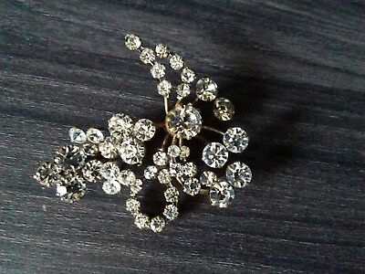 antike Gablonz Strass Schmuck Brosche um 1920 super brillianz