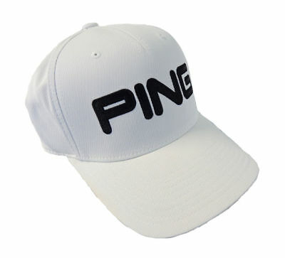 NEW PING TOUR Structured White Black Fitted S M Hat Cap -  15.95 ... a54622dac4e2