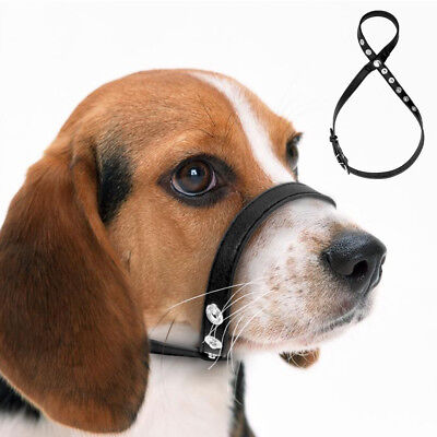 Black Leather Dog Muzzle Adjustable Loop Bite Bark Control Easy Fit Small Large