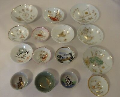 15 x Vintage Antique Japanese Chinese Oriental Sake Finger Small Bowls