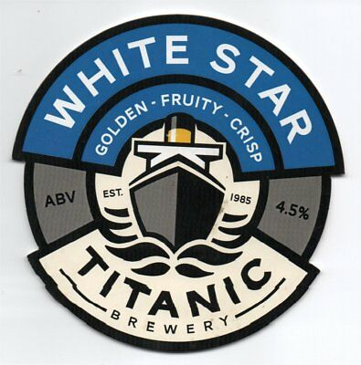 Beer pump clip front. Titanic Brewery, WHITE STAR