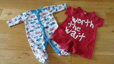 Fab Baby Boys Blue Mix Transport Design Sleepsuit & Red Outfit, age 0-3 mths