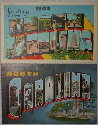 Pair Of Vintage Large Letter Linen Postcards From North Carolina