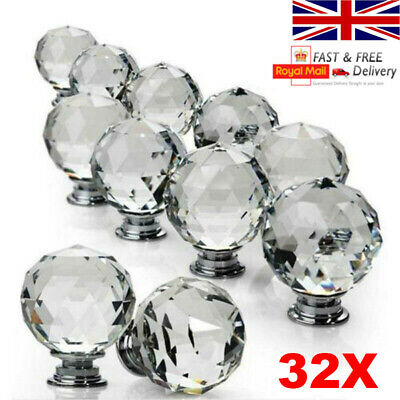 16/32 Pcs Door Knobs Handles Clear Crystal Glass Cupboard Drawer Cabinet Kitchen