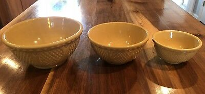 Set Of 3 ROBINSON RANSBOTTOM RRP CO ROSEVILLE YELLOW WARE BOWLS #207 10, 8 & 6""