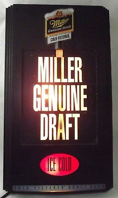 "Rare 1992 Miller Genuine Draft Beer Pouring Motion Electric Sign About 12"" x 20"""
