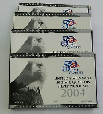 4 Silver Quarter Proof Sets, 2004-2008
