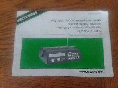Realistic Pro-2021 Programmable Scanner  Owners Manual