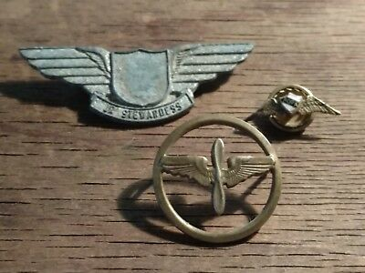 US Army Aviation Air Corps BOS Collar Disc AOPA wings Jr. Stewardess Pin Lot (3)