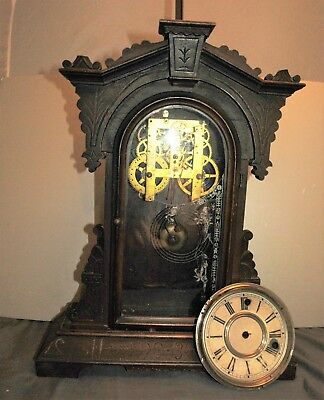 Antique Litta Welch Parlor Clock For Parts Or Restoration
