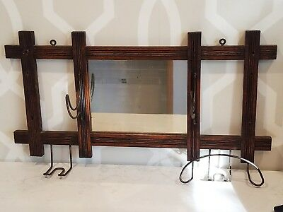 Antique Arts And Crafts Mission Style Coat Hat Umbrella Cane Hallway Mirror Rack