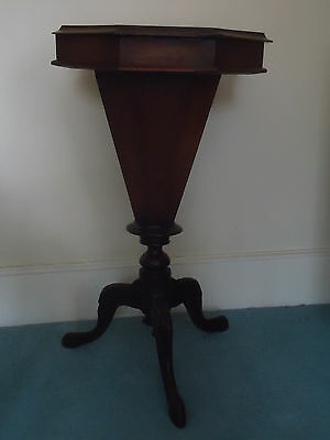 Victorian trumpet shaped sewing/WORK TABLE with pretty tripod legs