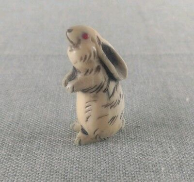 Vintage Hand Carved Bone Rabbit Netsuke