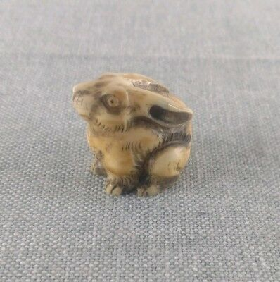 Vintage Hand Carved Bone Rabbit Netsuke Ojime Bead