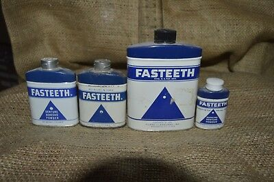 Vintage Tins - Fasteeth - Lot Of 4 - Some Have Product Some Emtpy