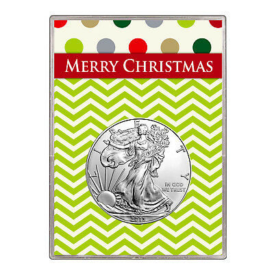 2015 $1 American Silver Eagle Gift Holder – Merry Christmas Design