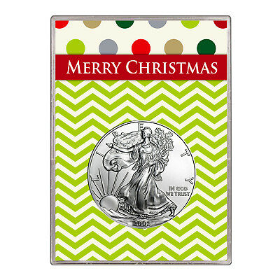 2002 $1 American Silver Eagle Gift Holder – Merry Christmas Design