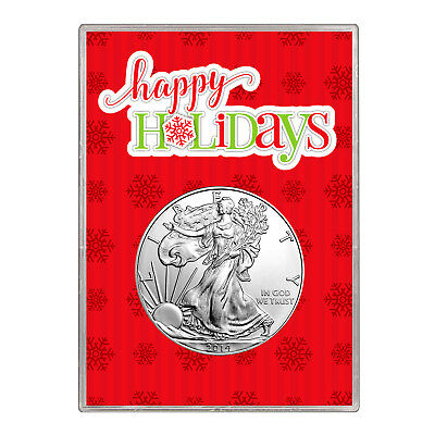 2014 $1 American Silver Eagle Gift Holder – Happy Holidays Design