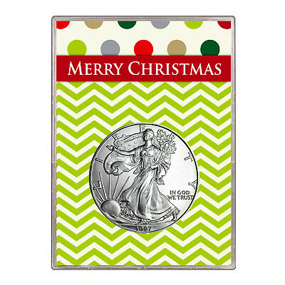 1997 $1 American Silver Eagle Gift Holder – Merry Christmas Design