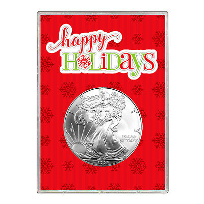 2009 $1 American Silver Eagle Gift Holder – Happy Holidays Design