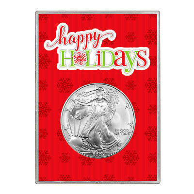 2005 $1 American Silver Eagle Gift Holder – Happy Holidays Design