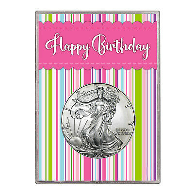 1996 $1 American Silver Eagle Gift Holder – Happy Birthday Pink Design