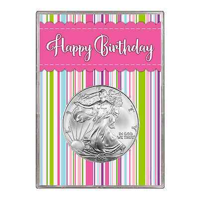 2006 $1 American Silver Eagle Gift Holder – Happy Birthday Pink Design