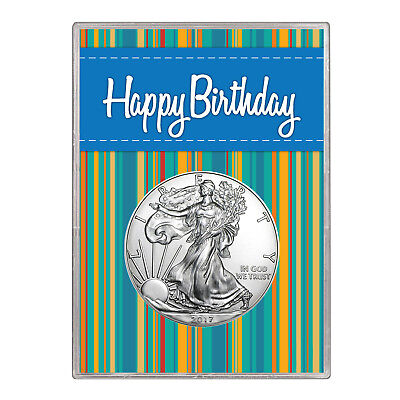 2016 $1 American Silver Eagle Gift Holder – Happy Birthday Blue Design
