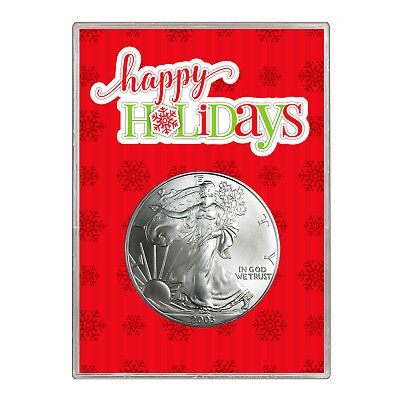 2003 $1 American Silver Eagle Gift Holder – Happy Holidays Design