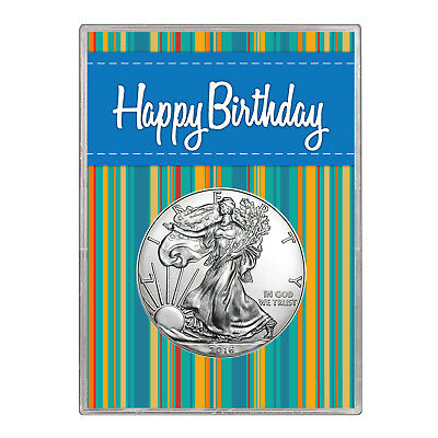 2015 $1 American Silver Eagle Gift Holder – Happy Birthday Blue Design
