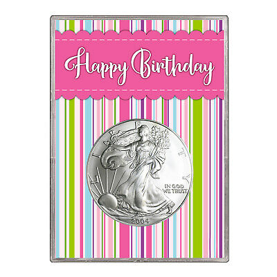 2004 $1 American Silver Eagle Gift Holder – Happy Birthday Pink Design