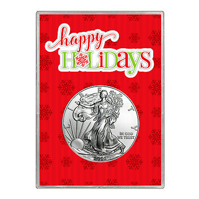 2002 $1 American Silver Eagle Gift Holder – Happy Holidays Design