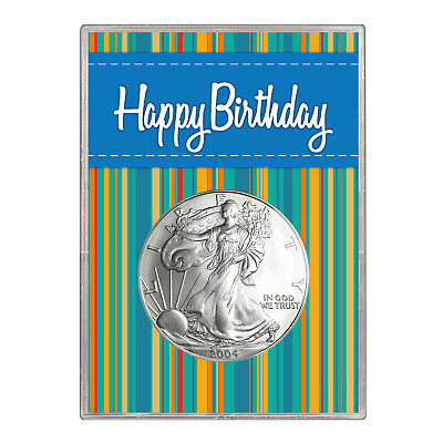 2004 $1 American Silver Eagle Gift Holder – Happy Birthday Blue Design