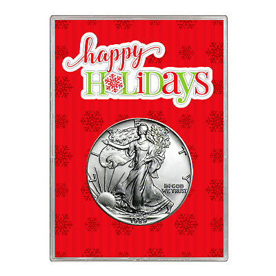 1989 $1 American Silver Eagle Gift Holder – Happy Holidays Design