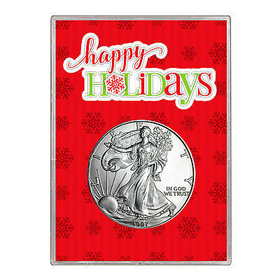 1997 $1 American Silver Eagle Gift Holder – Happy Holidays Design