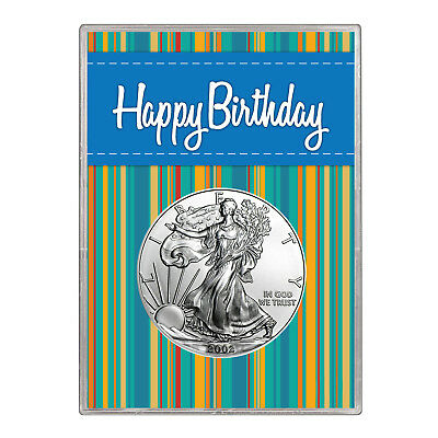 2002 $1 American Silver Eagle Gift Holder – Happy Birthday Blue Design