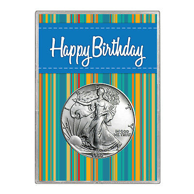1990 $1 American Silver Eagle Gift Holder – Happy Birthday Blue Design