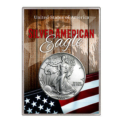 1990 $1 American Silver Eagle Gift Holder –  Flag and Eagle Design