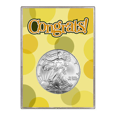 2006 $1 American Silver Eagle Gift Holder – Congrats Design