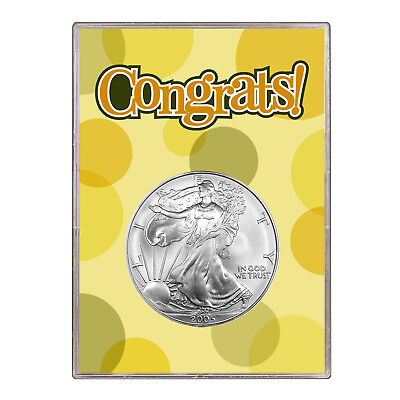 2005 $1 American Silver Eagle Gift Holder – Congrats Design