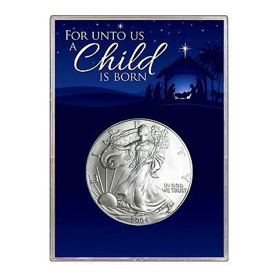 2004 $1 American Silver Eagle Gift Holder – Christmas Nativity Design