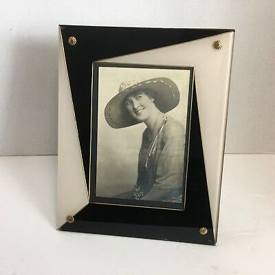 1920's Art Deco Black White Glass Picture Frame Gold Trim Easel
