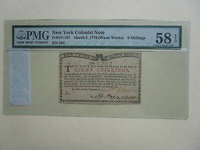 8 Shillings New York Water Works 1776 PMG 58epq