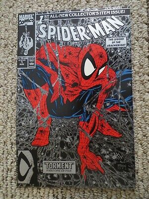 spider-man #1 (aug 1990 marvel) todd mcfarlane silver edition cover NM+