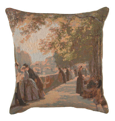 Bank of the River Seine II French Decorative Tapestry Cushion
