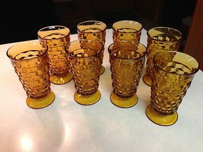 "Lot 8 Vintage Amber Indiana Cubist Whitehall 6"" Footed Drinking Glasses Set"