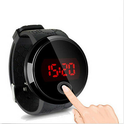 Mens Black Round Touch Screen LED Watch Waterproof  Screen Date Silicone Wrist